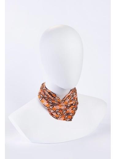 Akel Orange Pliseli Bandana Oranj